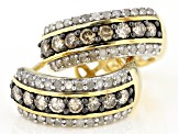 Champagne And White Diamond 14k Yellow Gold Over Sterling Silver J-Hoop Earrings 0.95ctw
