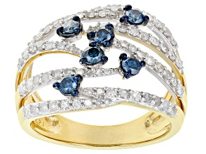 White And Blue Diamond 14k Yellow Gold Over Sterling Silver Open Design Ring 1.00ctw