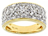 White Diamond 14k Yellow Gold Over Sterling Silver Band Ring 0.75ctw