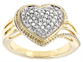 White Diamond 14k Yellow Gold Over Sterling Silver Heart Cluster Ring 0.25ctw