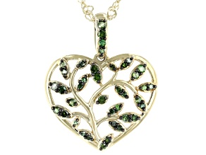 "Green Diamond 14k Yellow Gold Over Sterling Silver Heart Pendant With 18"" Singapore Chain 0.35ctw"