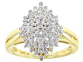 White Diamond 14k Yellow Gold Over Sterling Silver Cluster Ring 0.15ctw
