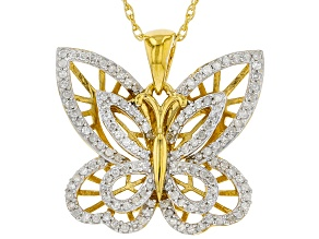 """White Diamond 14k Yellow Gold Over Sterling Silver Butterfly Pendant With 18"""" Rope Chain 0.40ctw"""