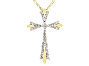 White Diamond 14k Yellow Gold Over Sterling Silver Cross Pendant With 18 Inch Rope Chain 0.20ctw