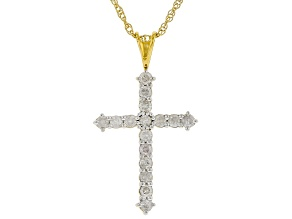White Diamond 14K Yellow Gold Over Sterling Silver Cross Pendant With 18 Inch Rope Chain 0.50ctw