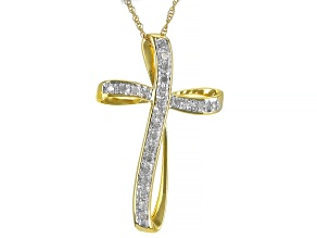 White Diamond 14K Yellow Gold Over Sterling Silver Cross Pendant With 18 Inch Rope Chain 0.18ctw