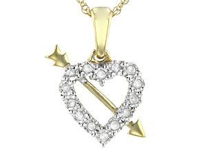 White Diamond 14K Yellow Gold Over Sterling Silver Heart And Arrow Pendant With Rope Chain 0.10ctw