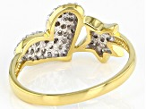 White Diamond 14K Yellow Gold Over Sterling Silver Heart And Star Cluster Ring 0.33ctw