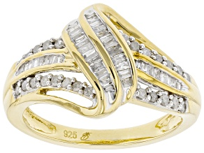 White Diamond 14K Yellow Gold Over Sterling Silver Crossover Ring 0.50ctw