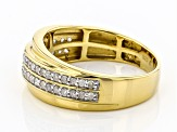 White Diamond 14k Yellow Gold Over Sterling Silver Mens Ring 0.55ctw