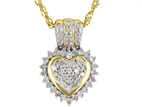 White Diamond 14K Yellow Gold Over Sterling Silver Heart Cluster Pendant With Chain 0.30ctw