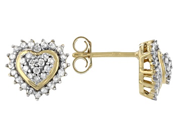 Picture of White Diamond 14K Yellow Gold Over Sterling Silver Heart Cluster Earrings 0.50ctw