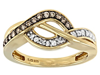 Picture of Champagne And White Diamond 14K Yellow Gold Over Sterling Silver Crossover Ring 0.20ctw