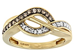 Champagne And White Diamond 14K Yellow Gold Over Sterling Silver Crossover Ring 0.20ctw