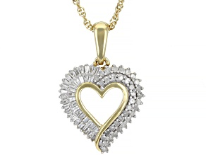 White Diamond 14K Yellow Gold Over Sterling Silver Heart Pendant With Chain 0.50ctw