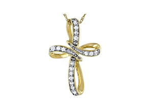 """White Diamond 14k Yellow Gold Over Sterling Silver Cross Pendant W/ 18"""" Chain 0.25ctw"""