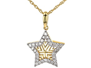"White Diamond 14k Yellow Gold Over Sterling Silver Star Pendant W/ 18"" Chain 0.15ctw"