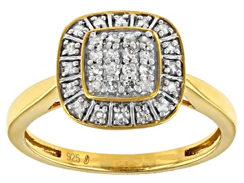 Picture of White Diamond 14k Yellow Gold Over Sterling Silver Cluster Ring 0.25ctw