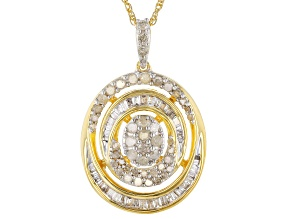 White Diamond 14K Yellow Gold Over Sterling Silver Cluster Pendant With Rope Chain 0.75ctw
