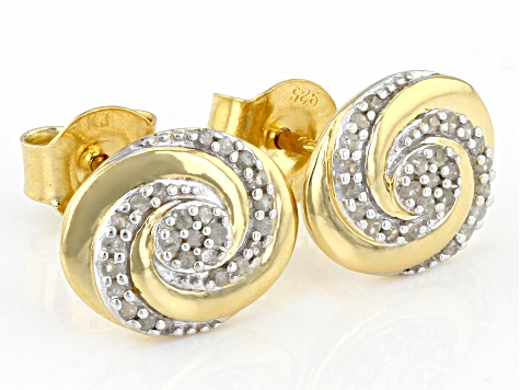 White Diamond 14K Yellow Gold Over Sterling Silver Cluster Stud Earrings 0.15ctw