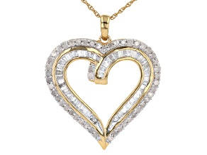 White Diamond 14K Yellow Gold Over Sterling Silver Heart Pendant With Rope Chain 1.10ctw