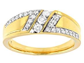 White Diamond 14k Yellow Gold Over Sterling Silver Men's Ring