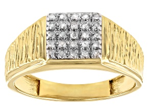 White Diamond 14k Yellow Gold Over Sterling Silver Men's Cluster Band Ring
