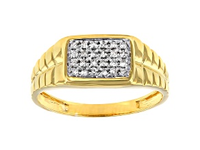 White Diamond 14k Yellow Gold Over Sterling Silver Men's Cluster Band Ring 0.15ctw