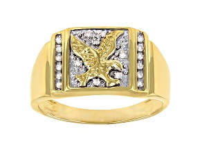 White Diamond 14k Yellow Gold Over Sterling Silver Men's Eagle Cluster Ring 0.10ctw
