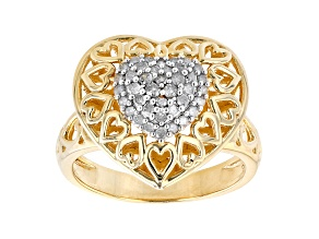 White Diamond 14K Yellow Gold Over Sterling Silver Heart Cluster Ring 0.35ctw
