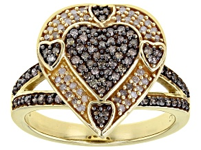 Champagne And White Diamond 14K Yellow Gold Over Sterling Silver Heart Cluster Ring 0.55ctw