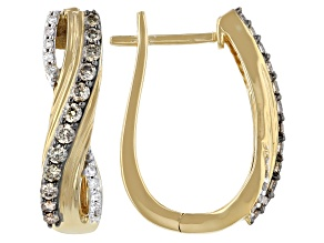 Champagne And White Diamond 14k Yellow Gold Over Sterling Silver Hoop Earrings 0.50ctw