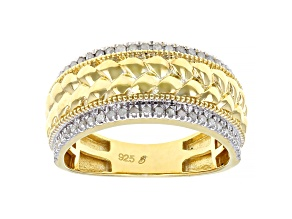 White Diamond 14k Yellow Gold Over Sterling Silver Mens Wide Band Ring 0.33ctw