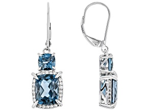 London Blue Topaz 10k White Gold Earrings 6.17ctw