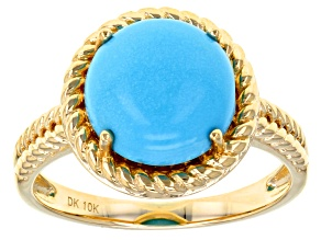 Blue Sleeping Beauty Turquoise 10k Yellow Gold Ring.
