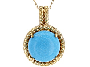 10k Yellow Gold Sleeping Beauty Turquoise Pendant With Chain