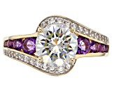 White Fabulite Strontium Titanate With White Zircon And Amethyst 10k yellow gold ring 3.75ctw