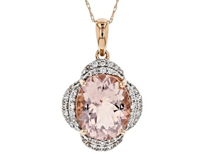 Pink Morganite 10k Rose Gold pendant with chain 4.16ctw