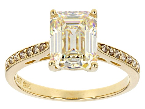Fabulite Strontium Titanate And Champagne Diamond 10K Yellow Gold Ring 3.22ctw
