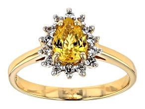 10k Yg Ps Yellow Sap/Rd Wht Zirc Ring