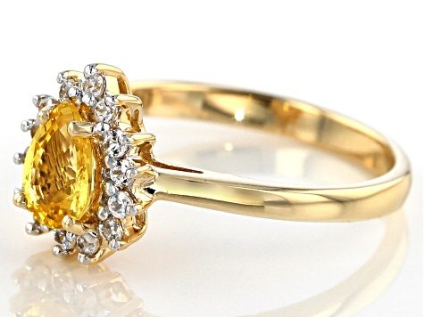 10k Yg Ps Yellow Sap/Rd Wht Zirc Ring