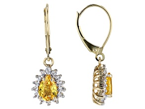 10k Yellow Gold Yellow Sapphire And White Zircon Dangle Earrings