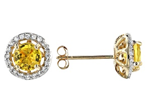 Yellow Sapphire 10k Yellow Gold Stud Earrings 1.60ctw