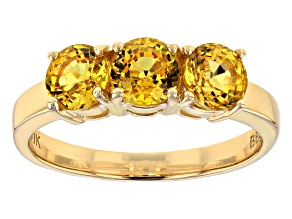 Yellow Sapphire 10k Yellow Gold 3-Stone Ring 1.86ctw