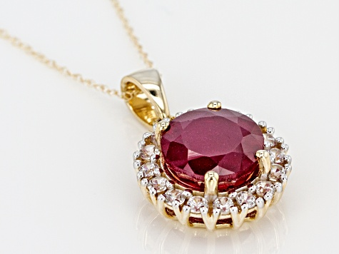 Mahaleo Ruby 10K gold pendant with chain 4.45ctw