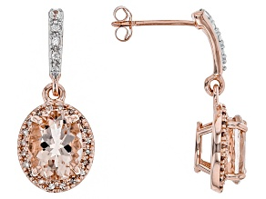 Pink Morganite 10K rose gold dangle earrings 3.18ctw