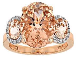 Pink morganite 10K rose gold ring 5.39ctw