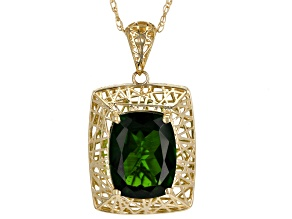 Green Chrome Diopside 10K Yellow Gold Filigree Pendant with Chain  1.74ct