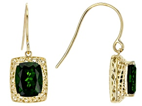 Green chrome diopside 10K gold earrings 3.48ctw