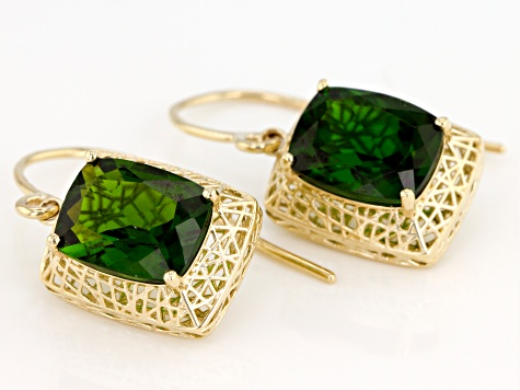 Green chrome diopside 10K Yellow Gold Earrings 3.48ctw